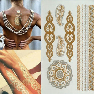 3 Sheets Gold Silver Temporary Tattoo